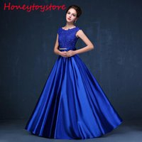 Wholesale Elegant Pink Dresses - 2017 Lace Long Prom Dresses Pink blue Formal Evening Party Dresses Vestido De Festa ballkleider elegant party dresses for women