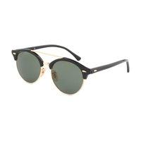 Wholesale Glass Retro - Newest Brand Club Sunglasses Round Men Sun Glasses Women Outdoor Retro clubround Double Bridge Sunglass Gafas de sol 434 51mm case