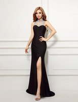 Новая мода 2017 Sexy Black Evening Dress Высокий шея вышитый бисером Backless Sweetheart Line Side Split Sweep Train Long Prom Dress Party Dress