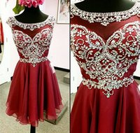 Wholesale Short Chiffon Beaded Cocktail Dress - 2017 Dark Red Short Prom Dresses Heavily Beaded Bodice Sparkly Cap Sleeves Mini Chiffon A-line Girls Informal Cocktail Party Gowns Dress