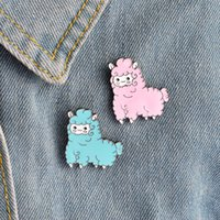 Wholesale girls badges - Cute Kawaii Animal Alpaca Brooch Pin Badge Brooche Shirt Denim Jacket Decorated Women Girl Cute Jewelry Gifts