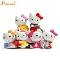 Vente en gros - 2016 Nouveau 6pcs Cute Hello Kitty Figurine Fête des enfants Favors Décoration Fournitures Lovely Girls Birthday Gift Pinata Filler 3.5cm