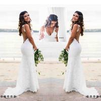 vestidos de casamento feitos à mão rendas venda por atacado-Sexy Lace Vestidos De Casamento País Estilo Conde Trem V Profundo Pescoço Sem Encosto Vestido De Noiva Hoho Barato Artesanal Sereia Vestidos De Noiva Desgaste Simples