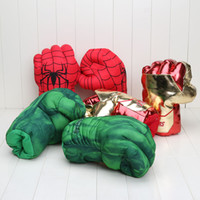 Wholesale Incredible New - 10'' 26cm New Avengers Cosplay Incredible Green Hulk Spiderman Smash Hands Plush Gloves Boxing Gloves Gifts
