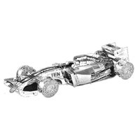 Wholesale Toy Animal Racing - 3D Metal Puzzle F1 Racing Car Crawler Crane Old Bike Cross Country Motorcycle Laser Cutting Car Model DIY Silver Jigsaw Toy