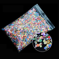Wholesale 3d Nail Designs Fimo - Wholesale- Hot 1pack Nail Art 3d Fruit Feather Flowers Mix Designs Tiny Fimo Slices Polymer Clay DIY Beauty Nail Stickers Decorations