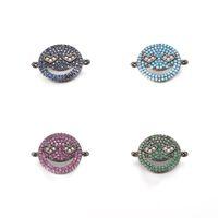 Wholesale Pave Diamond Bracelet Wholesale - Fashion CZ Charm Bracelet ECO-Friendly Round Smile Shape Micro Pave Charm, Cubic Zirconia Diamond connector, ICSP064, 21*15.2mm, 4 Color