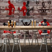 Wholesale Block Country - Free Shipping 3D Stereo Hand Painted Wood Blocks Gym Wallpaper Background Wall Custom Wallpaper High Quality Mural