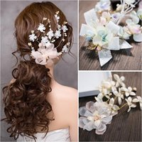 Wholesale Ponytail Holder Silver - Woman headdress hair Lomen bride Korean sweet bride handmade wedding dress wedding headdress flower hair accessories 154039