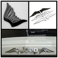 Wholesale 3d Cartoon P - metal A&P--1 set Angel Wing Decoration Motorcycle 3D Cool Metal Car Sticker Motorcycle Truck Emblem for VW golf