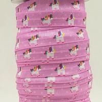 Wholesale Fold Over Elastic Hair Ties - ribbon wholesale OEM 5 8inch 15mm 160301005 unicorn on purple design folded over elastic FOE for hair tie 10 yards free shipping