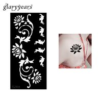 Wholesale wholesale airbrush tattoo kits - Wholesale-1 Piece Flower Henna Indian Tattoo Stencil Flower Drawing for Beauty Women Shouder Airbrush Painting Tattoo Template Health S268