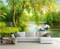 Wholesale paintings swans resale online - 3d room wallpaper custom photo non woven mural Swan lake forest decoration painting picture d wall murals wallpaper for walls d