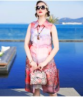 2017 Silk Eugen Yarn One Piece Light Pink Jupe au genou Floral imprimé jupe jupe Polyester One Piece Dress