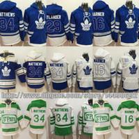 толстовки из кленового листа торонто оптовых-Toronto Maple Leafs hoodie 16 Mitch Marner 29 William Nylander синий 100th 2017 Centennial классический хоккей Джерси сшитые