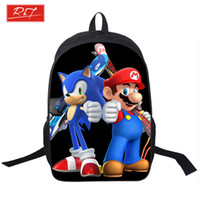 Wholesale Mario Cell Phone - Wholesale- Kids Mario Printing Backpack Children Cartoon Sonic Backpacks Boys Girls School Bags For Kindergarten Daily Backpack Book Bag