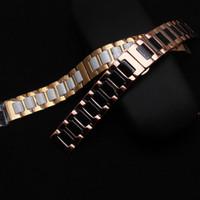 weiße metallarmbänder großhandel-Keramik und Edelstahl Armbänder Armband schwarz weiß Mit Roségold Metall passen Sumsang Gear S2 S3 Armband Mode Herren Ladys