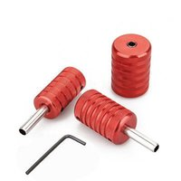 Wholesale Tattoo Gun Kit 25 - Wholesale-New Style High Quality 3 PCS Aluminum Alloy Tattoo Knurled Grips 25 30 35mm Red For Tattoo Machine Gun Kit Free Shipping