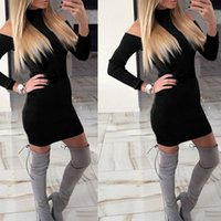 Wholesale Long Strapless Tight Dress - New Long-Sleeved Casual Dress Tight Thread Package Hip Knit Dresses Collar Strapless Dress Skirt Woman's Dress