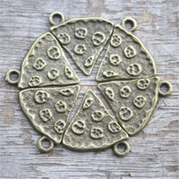 Wholesale Pizza Plates - 20pcs Large Slice Of Pizza Charm bronze tone 20mm x 19mm Food Charm BBF Friendship