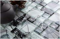Wholesale Glass Shower Tiles - High quality crystal Ice Crack Black&white Glass mosaic tile kitchen backsplash bathroom wall shower TV tub backwall Artdecor idea,LSBV1101D