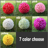 Wholesale Elegant White Artificial Rose Silk Flower Ball Hanging Kissing Balls cm cm Ball For Wedding Party Decoration Supplies