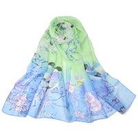 Wholesale Brown Bird Design - 160x50cm Women's Ladies Floral Scarves Chiffon Flowers & Birds Design Printed Scarf