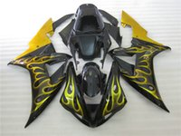 Wholesale gold yamaha - Injection molded bodywork fairing kit for Yamaha YZF R1 2002 2003 gold flames black fairings set YZF R1 02 03 OT47
