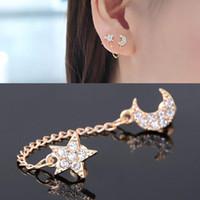 Wholesale Clip Earrings Star - Hot Full Rhinestone Moon Stars Earrings for Women Monaural Two-Hole Ear Clips Crystal Stud Earring Single Piece Girl Gifts