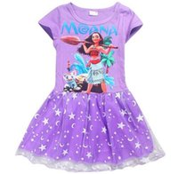 Wholesale Cartoon Character Costume Princess - Girls Dress Summer 2017 Girls Ball Gown Party Princess Dress Cartoon Print Moana Princess Costume Kids Dresses For Girls Clothes