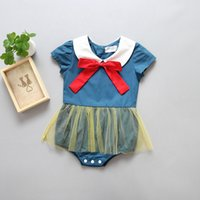 698e3ef0e28a 2017 hot sell INS babies blue rompers baby girl lace jumpsuit kids  one-piece jumper summer toddler clothes child infant cute clothing bow