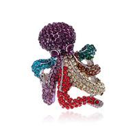 pulpo de oro al por mayor-Octopus Shaped Rhinestone Gold / Silver Plated Stretch Ring, para Mujeres Hombres Unisex