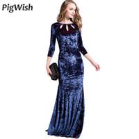Wholesale Dress Mini Ruffle Rivet - 2017 Summer Dress Women Maxi Party Dresses Club Velvet Long Dress Robe Longue Sexy Slim Blue Dresses Womens Clothing