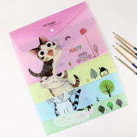 Wholesale Cute A4 Files - Wholesale- 1 PC Cute Cartoon Cheese Cat PVC A4 Filing Products File Folder Storage Stationery School Office Supplies