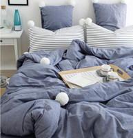 Wholesale western style beds online - denim blue cotton Vintage little old very western style blue washed cotton bedding sets home textile bed dress pillow case duvet cover