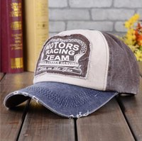Wholesale Motor Hat - 8 Colors 2015 fashion Spring Summer Retro applique letter motors racing team sun hat baseball cap Truck Visor Cap for women men