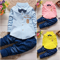 Wholesale Denim Top Boy - 2Pcs Baby Boys Long Sleeve T-shirt tops+Denim Pants Set Kids Clothes Outfits Set free shipping