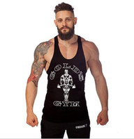 Wholesale Tight Single Sleeve - The new professional GOLDS single color fitness fitness sports training vest cotton sweat sweat type men tight