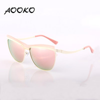Wholesale Metal Cat Eyes Sunglasses - AOOKO AK78102 Fashion Cat Eye Sunglasses Women Brand Designer Metal Reflective Mirror uv400 Sun Glasses For Women Twin-Beams Glasses Gafas