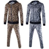 Wholesale Leopard Sweatshirts Men Clothing - Men Sportswear Hoodies Set Autumn Suit Leopard Pattern Men Clothes Tracksuits Male Sweatshirts & Coats Joggers Plus Size