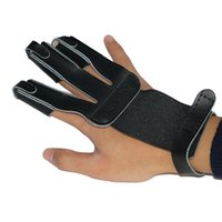 Wholesale Leather Gloves Bows - Black Cow Leather Finger Guard Pull Fingertip Protector for Bow Archery Hunting and Shooting Durable 3 Finger Guard Shooting Gloves