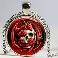 Wholesale biker necklaces resale online - Dragon Skull Pendant Charm Glass Cabochon Ancient Bronze Plated Necklace Gothic Biker Jewelry