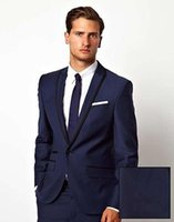 Wholesale Beige Color For Mens Suits - Sell like hot cakes!Blue Men Suits For Wedding Black Peaked Lapel Grooms Tuxedos Two Piece Mens Suit
