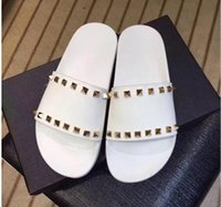 Wholesale Ladies Pvc Tops - Summer New arrival Top quality luxury brand sexy Thick bottom women casual Metal rivets lazy slippery beach ladies slippers