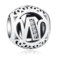 Wholesale Bead Jewerly - 925 Stering Silver Alphabet W Beads fits Pandora Jewerly Making heart enamel mother bead Accessories Crystal Letter Bead for Women Charms