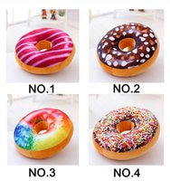 Wholesale Wholesale Valentine Pillows - 30pcs lot Xmas 40cm Cushion Lovely circle bread doughnut throw pillow Stuffed Plush Toys for Valentines Gift new year gift