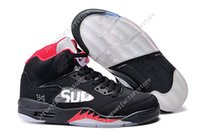 Wholesale High Reflective Pvc - High Quality Cheap New Retro 5 V OG Black Metallic Mens Basketball Shoes 3M Reflective Effect Sup retros 5s Sneakers free shipping US 8-13