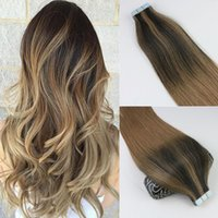 Wholesale Seamless Tape Hair - 100gram 40pcs Tape In Human Hair Extensions Balayage Ombre Color Brown Brazilian Virgin Hair Seamless PU Skin Weft