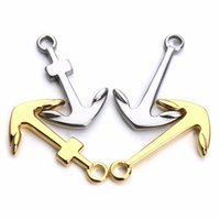 Wholesale Diy Jewery - Wholesale- 2pcs Silver Gold Plated Anchor Charms Stainless Steel Bracelet Hook for DIY Leather Bracelet Connector Fashion Jewery Findings