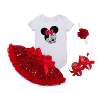 Wholesale Minnie Baby Romper - Fashion Baby Girl Clothes Sets Minnie Dot Cotton Long Sleeve Romper+Tutu Skirts+Headband+Shoes 4 PCS Infant Clothing